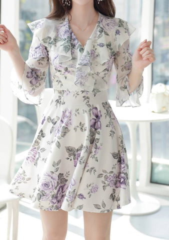 Up All Night Lavender Flower Dress
