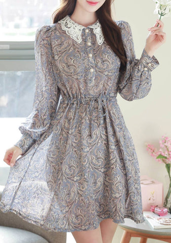 Our Attention Paisley Lace Collar Dress