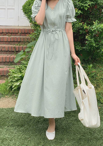 For New Seasons Puff Shoulder Dress