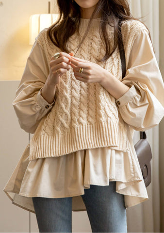 Rooftop Princess Pleated Knit Top