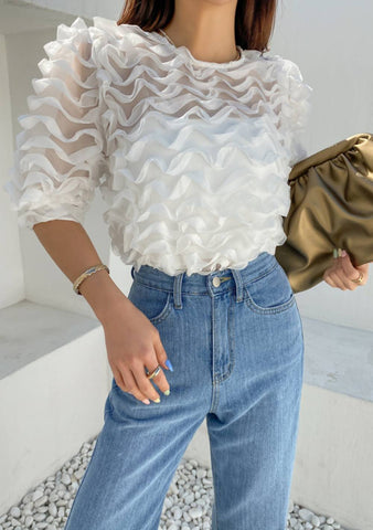 Again And Again Ruffle Mesh Blouse