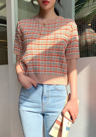 Unique Pattern Check Knit Top