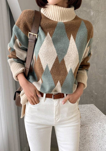 Be My Love Song Diamond Pattern Knit Sweater