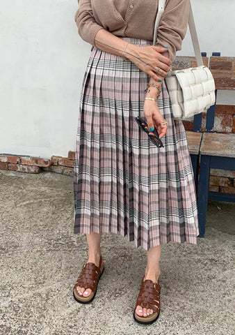 Origin Collection Check Pleated Skirt