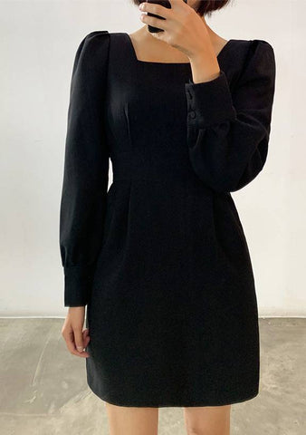 Puff Sleeve Square Neck Dress