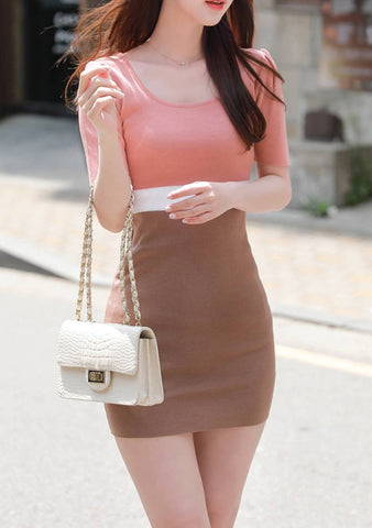 You Are My World Color Block Knit Dress
