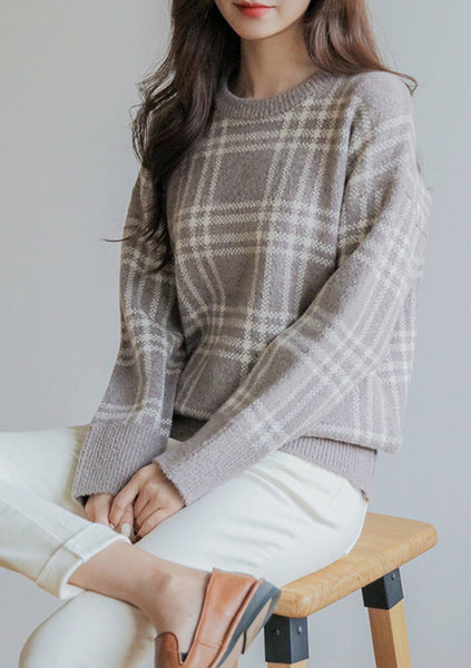 Longtime Companion Knit Check Sweater