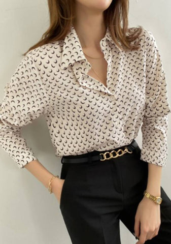 Just A Reminder Moon Print Blouse