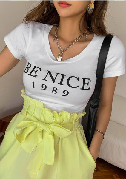 Be Nice Round Lettering T-Shirt