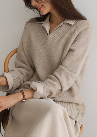 Margaret V-Neck Knit Sweater