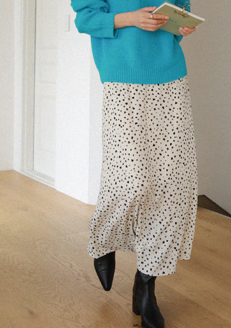 Milky Leopard Print Long Skirt