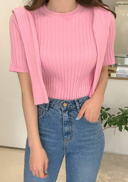 Go Back To Pretend Ribbed Knit Top