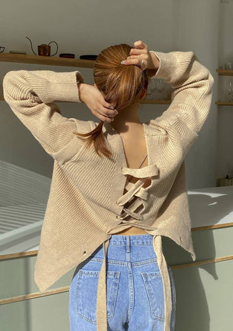 Extra Touch Tied Back Knit Cardigan