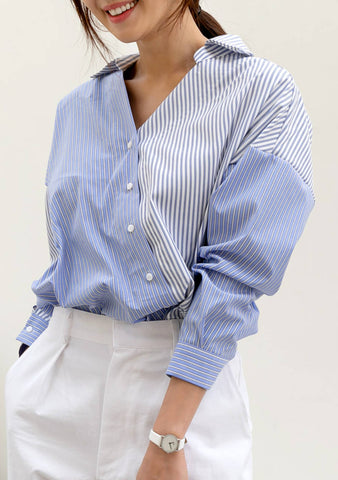 About The Present Stripes Color-Block Shirt