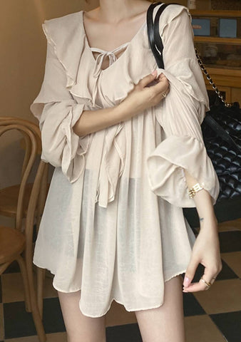 Accurate Source Ruffle Long Blouse
