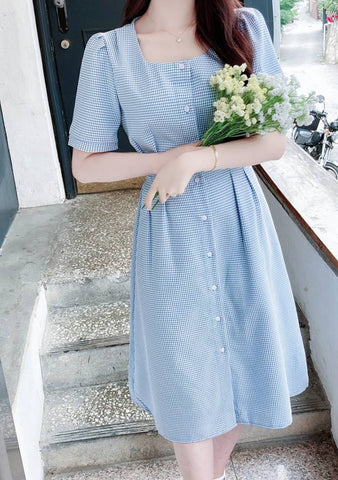 The Grand Seoul Hotel Puff Button Dress