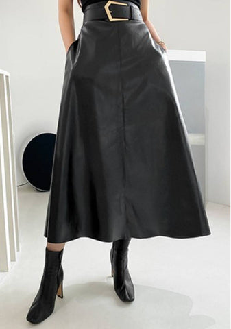Blinded By The Light Leather Look Skirt