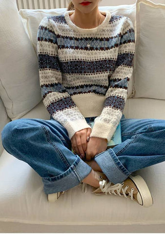 Winter Pattern Stripes Knit Sweater