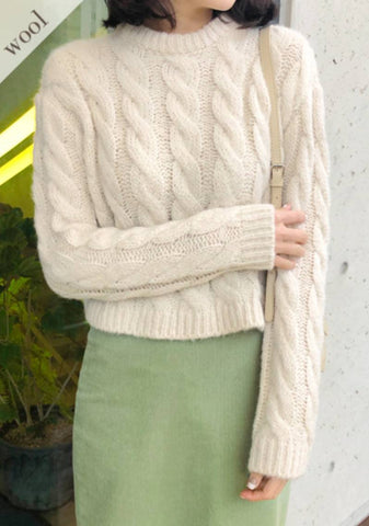 Overwhelming Places Wool Cable Knit Sweater