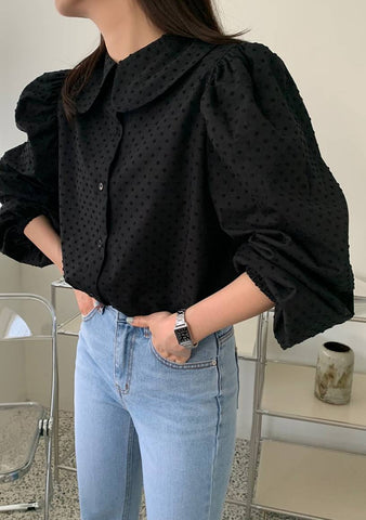 With The Knowledge Collar Puff Blouse