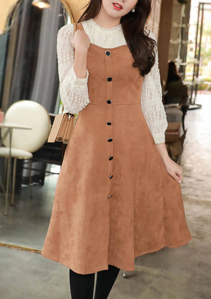 You Are My Love Story Button Sleeveless Dress