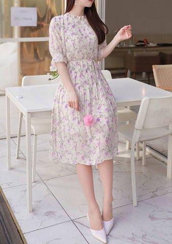 Are We Just Friends Flower Pleated Dress
