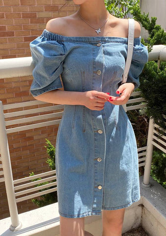 Feeling Good Denim Off-Shoulder Dress