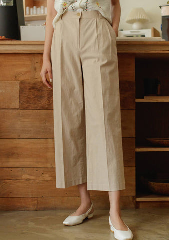 Moreover Linen Wide Crop Pants
