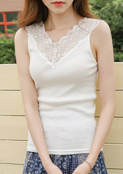 Celebrate The Time Lace Hem Sleeveless Top