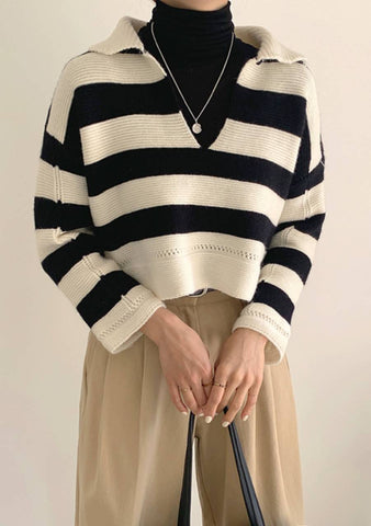 We Said Hello Stripes Knit Top