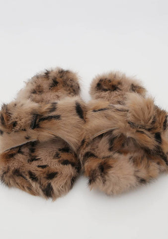 Thing Left Unsaid Leo Print Furry Slippers