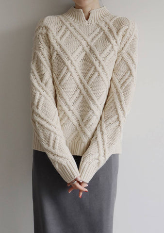 Mild Half Wool Knit Top [Cream]