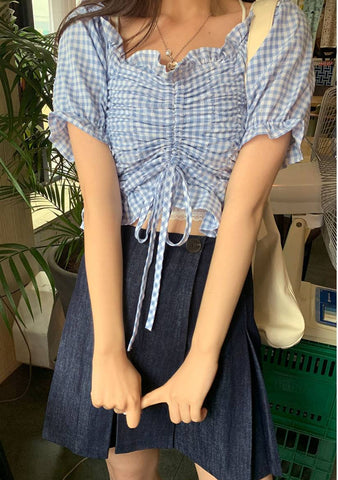Country Side Check Shirring Blouse