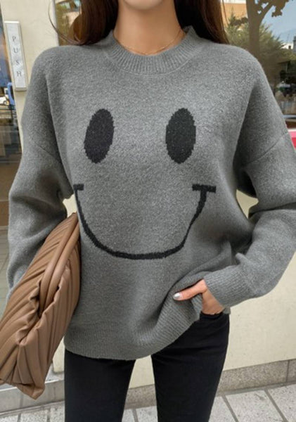 Putting On An Happy Face Knit Sweater