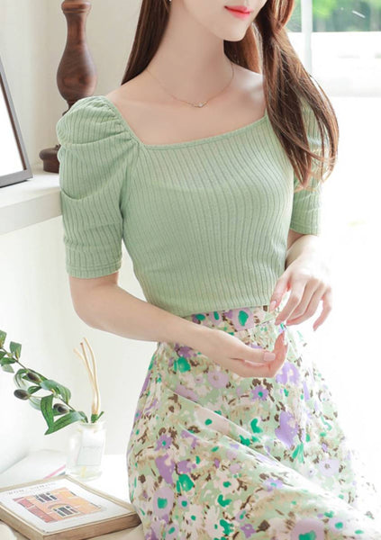 Divination Puff Ribbed Knit Top
