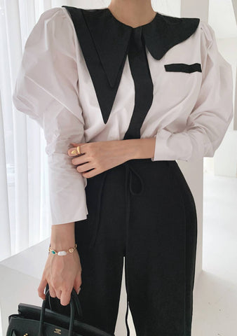 Outfit Goals Collar Color Block Blouse