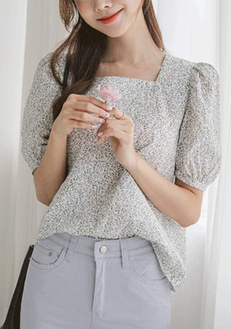 And Together We Will Rise Flower Puff Blouse