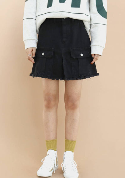Pocket Flare Denim Skirt [Black]