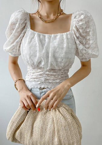 The Styled Edit Mesh Lace Blouse