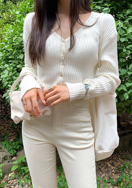 Chic Ribbed V-Neck Cardigan