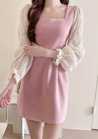 Love Patterns Lace Sleeves Dress