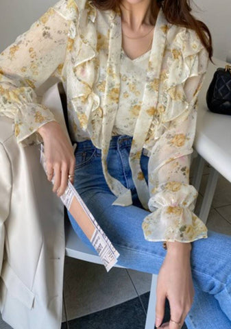 I Need You there With Me Flower Mesh Blouse