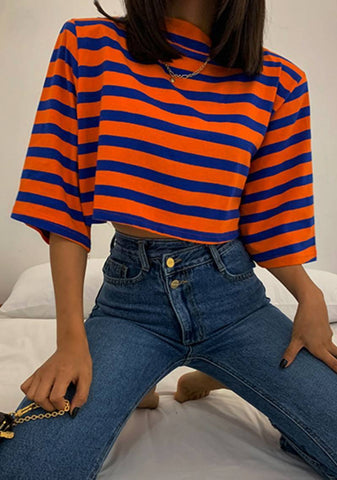 Spaced Out Stripes Crop Top
