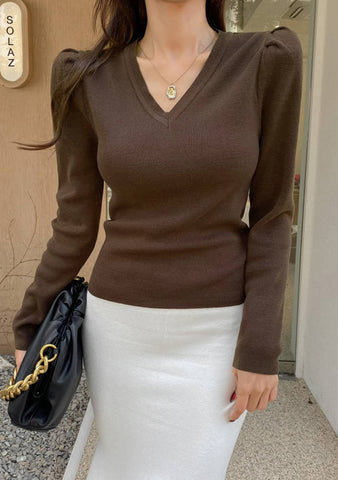 Hashtag Trend V-Neck Knit Top