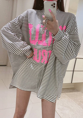 A Smile Per Day Stripes Oversize Top