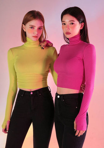 Neon Block Crop Turtleneck Top