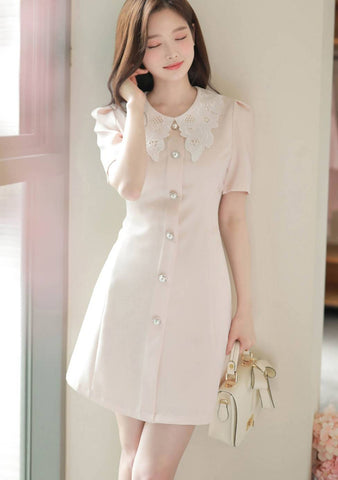 So Much Attention Lace Collar Dress