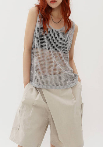 De Net Linen Knit Sleeveless