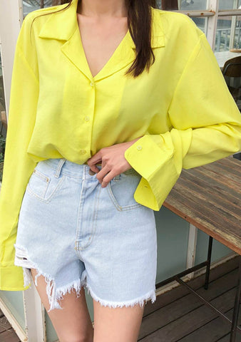 Revere Collar Button-Up Blouse