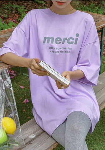 Merci Ma Belle Lettering Long T-Shirt